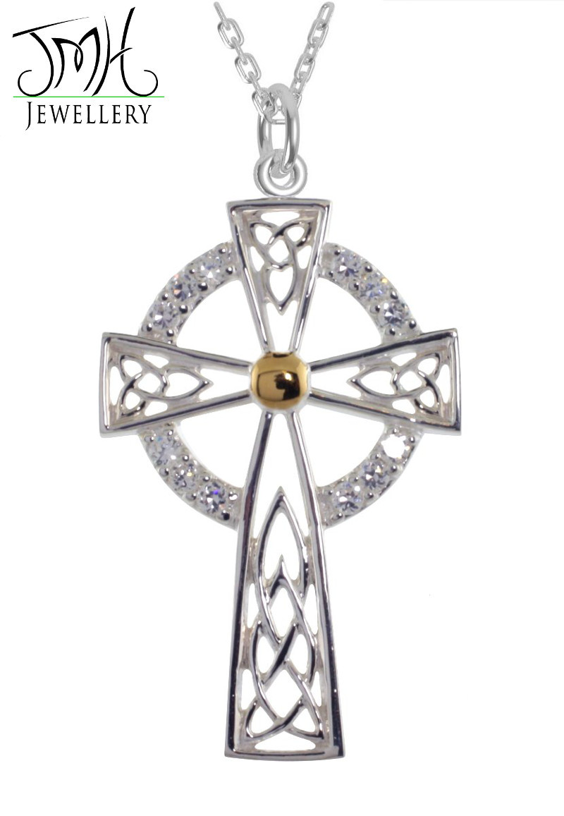Irish Necklaces - Sterling Silver with White CZ Stones High Cross Celtic Pendant