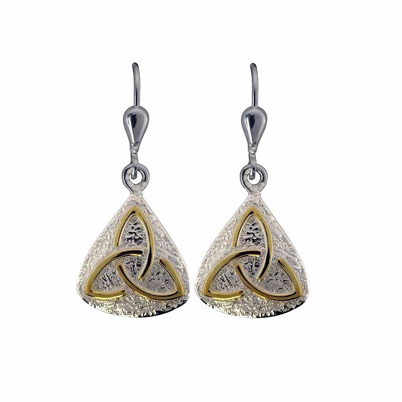 Irish Earrings - Sterling Silver with Gold Plated Trinity Knot Earrings