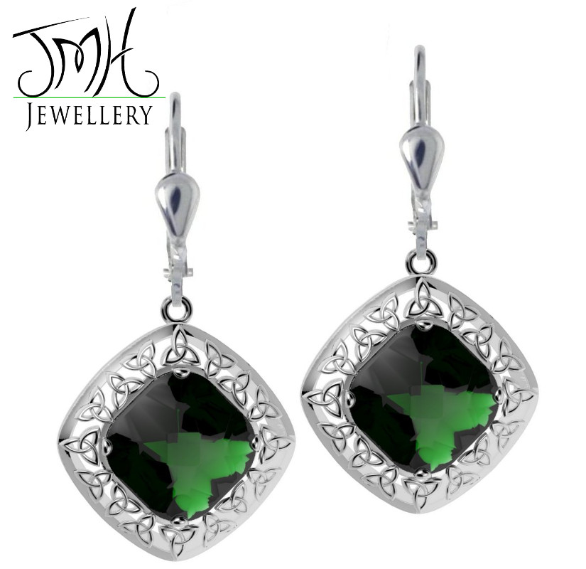 Irish Earrings Sterling Silver Green Quartz Trinity Knot