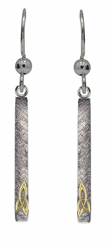 Celtic Earrings - Sterling Silver Trinity Knot Bar Earrings
