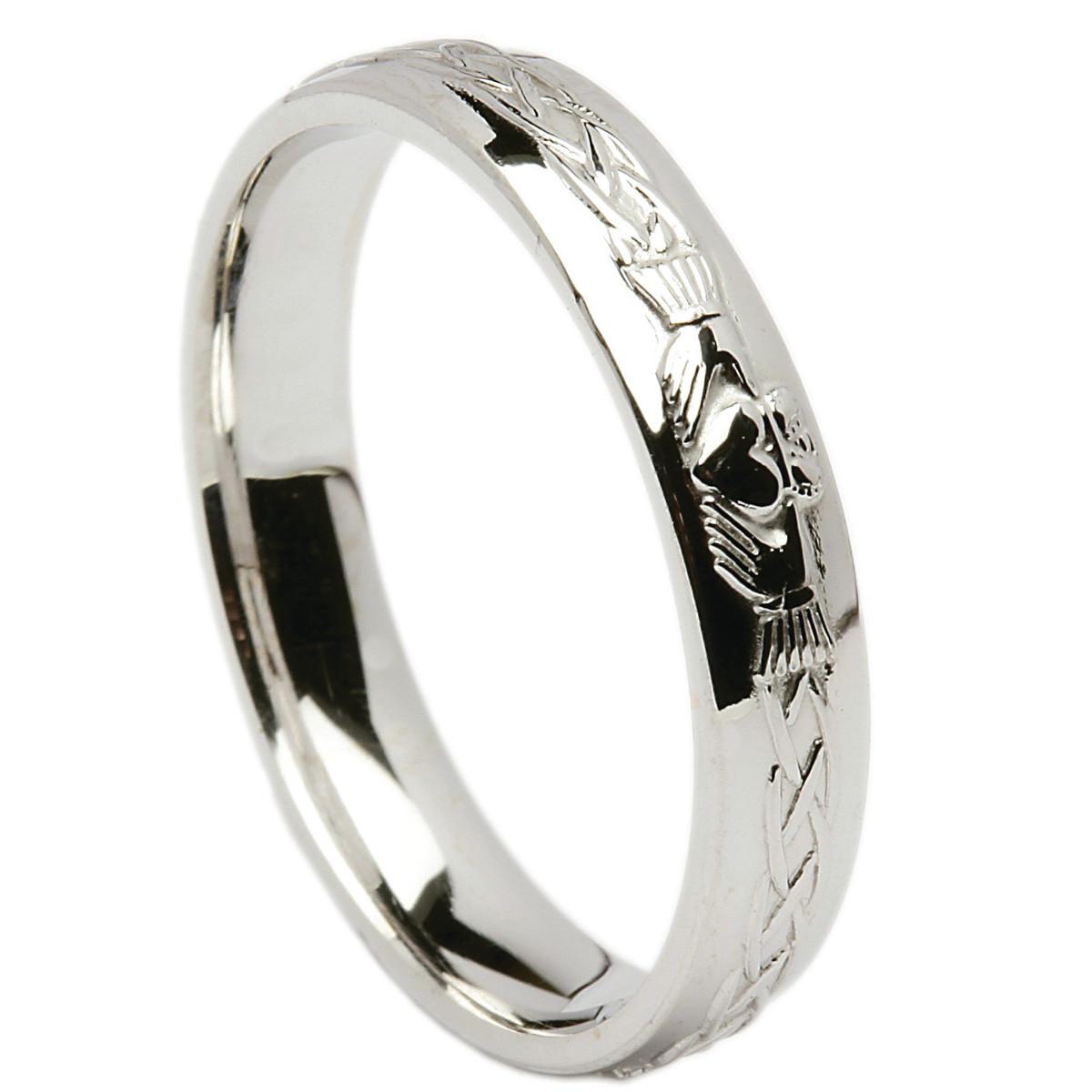 Irish Wedding Ring Celtic Knot Claddagh Mens Wedding Band At