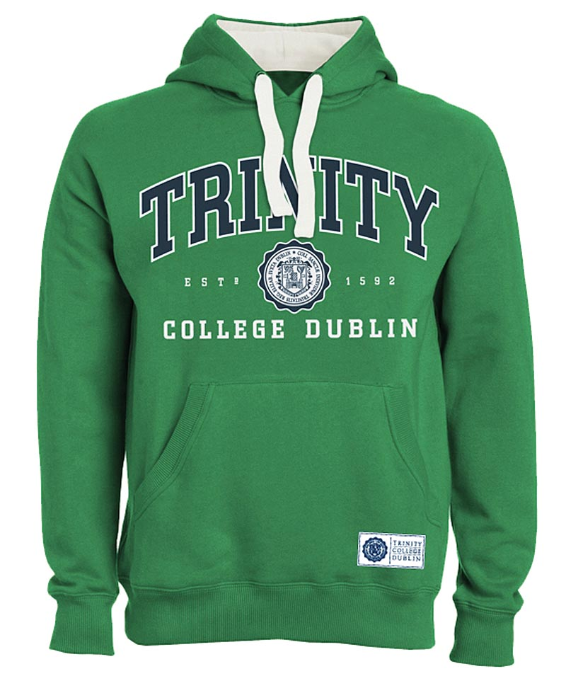 Irish Sweatshirt - Trinity Collegiate Seal Hooded Sweatshirt - Green
