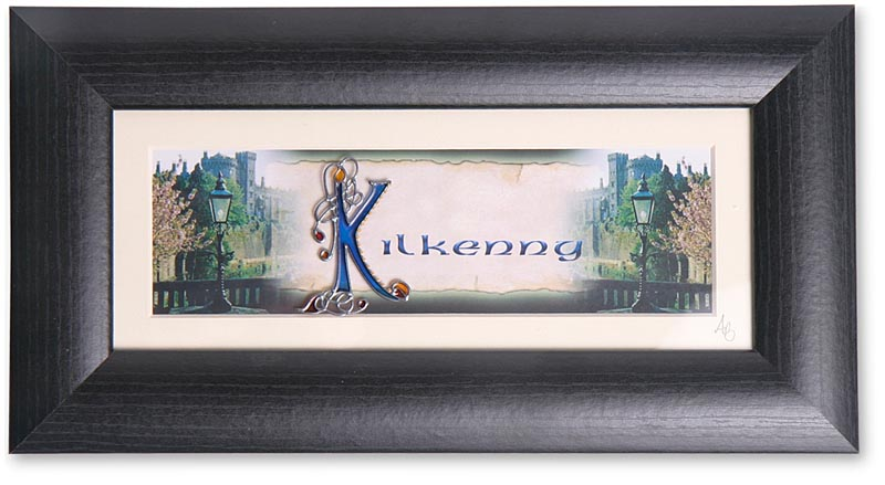 Personalized Name and County Handpainted Glass Framed Print
