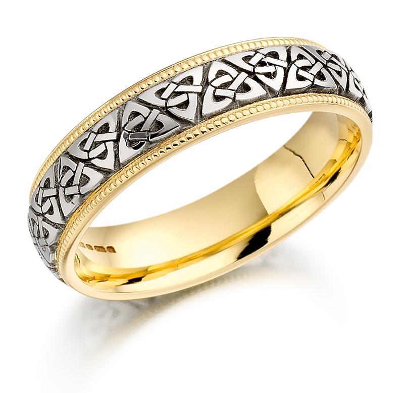 Trinity Knot Wedding Ring Mens Two Tone Trinity Celtic Knot Beaded Irish We