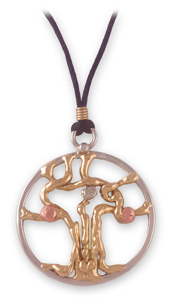 Grange Irish Jewelry - Three Tone Tree of Life Pendant on Cord