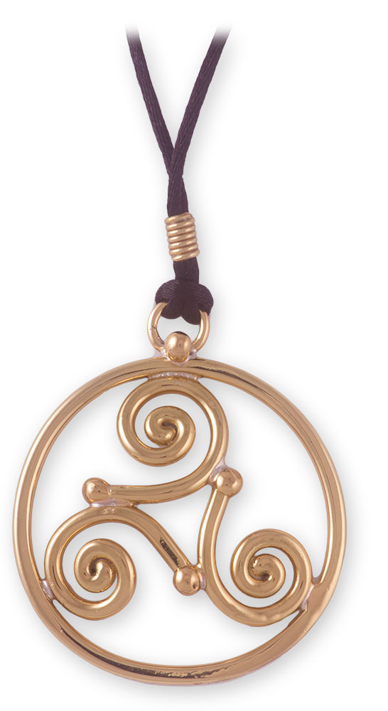 Grange Irish Jewelry Gold Tone Triskele Pendant On Cord