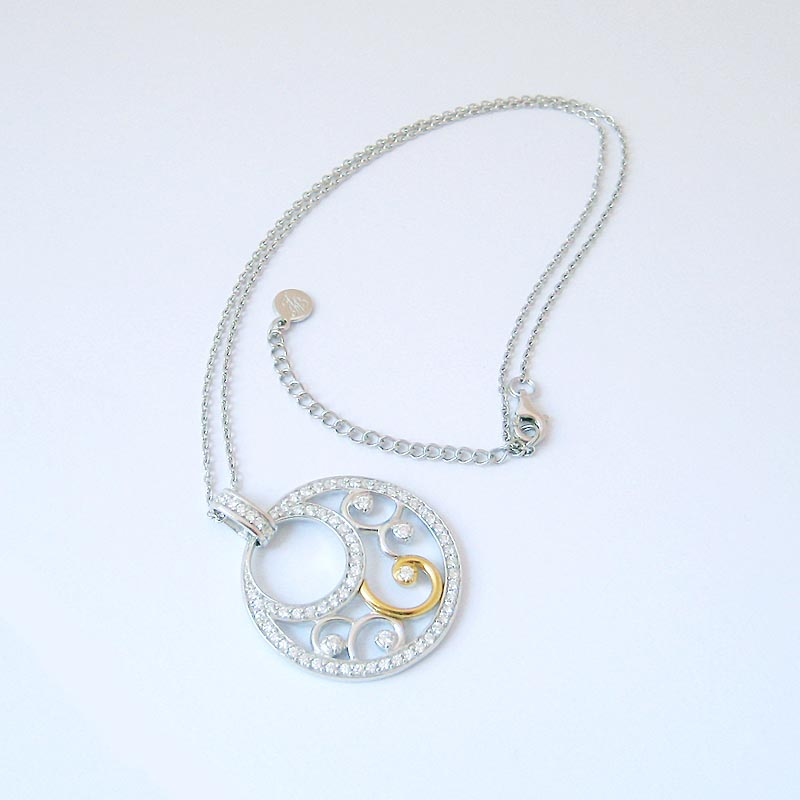 Jean Butler Jewelry Irish Necklace - Sterling Silver Georgian Suite Crystal Swirls Pendant with Chain