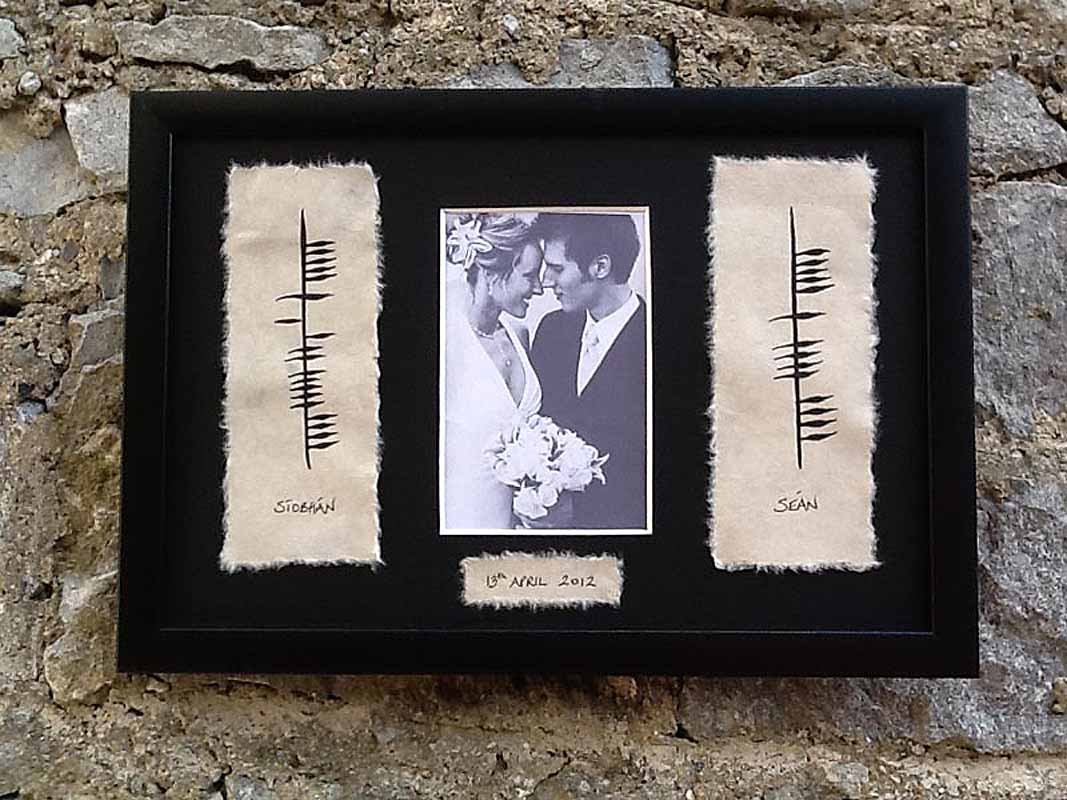 Personalized Hand Painted Ogham Wedding Framed Print with Names ...