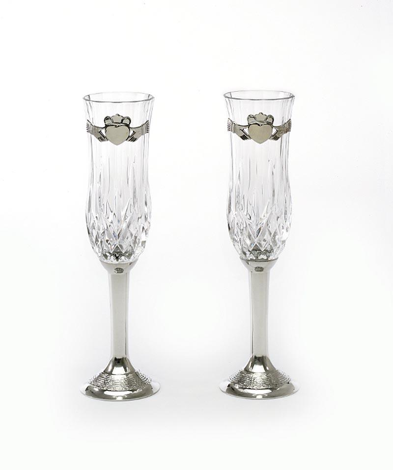 Irish Wedding Gifts Traditions: Claddagh Wedding Flute Pewter (Pair