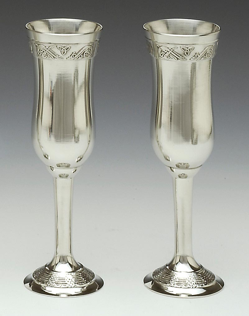 Irish Wedding Gift Celtic Champagne Flutes Pewter Pair At