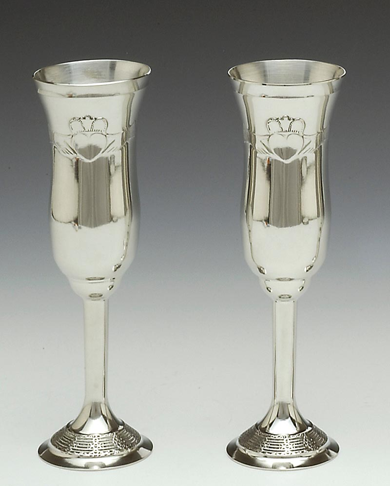 Irish Wedding Gift -  Claddagh Champagne Flutes Pewter (Pair)