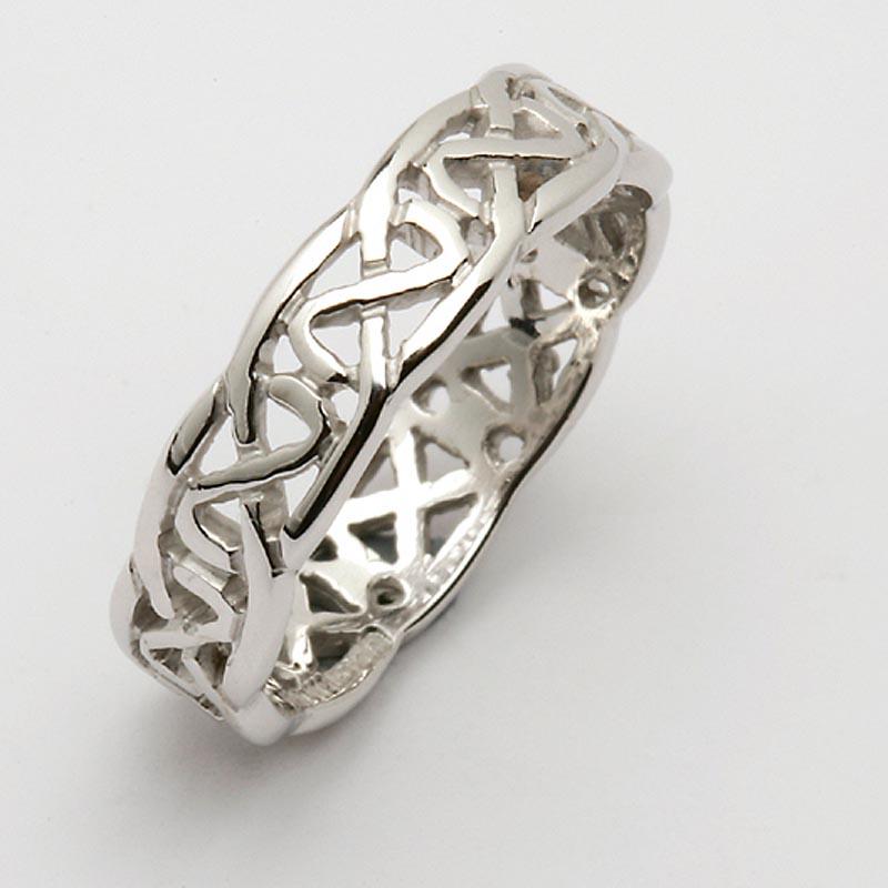 Irish Wedding Ring Celtic Knot Narrow Pierced Sheelin Mens Wedding Band At