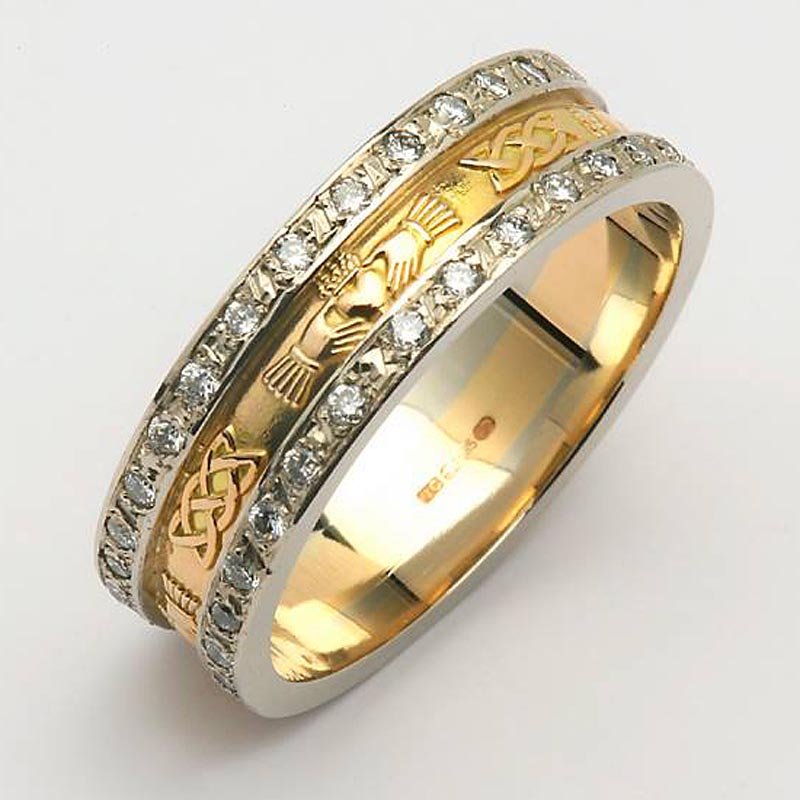 Irish Wedding Ring - Ladies 14k Gold Diamond Pave Celtic Knot Claddagh Ring