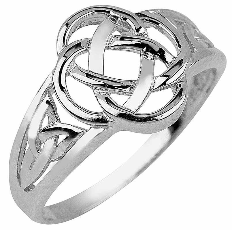 Trinity Knot Ring - Ladies White Gold Trinity Knot Ring