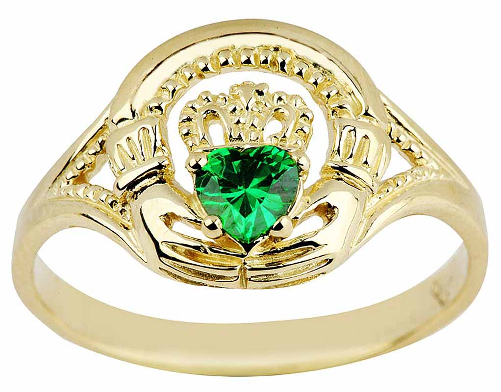 Claddagh Ring - Ladies Yellow Gold Claddagh Ring with Emerald
