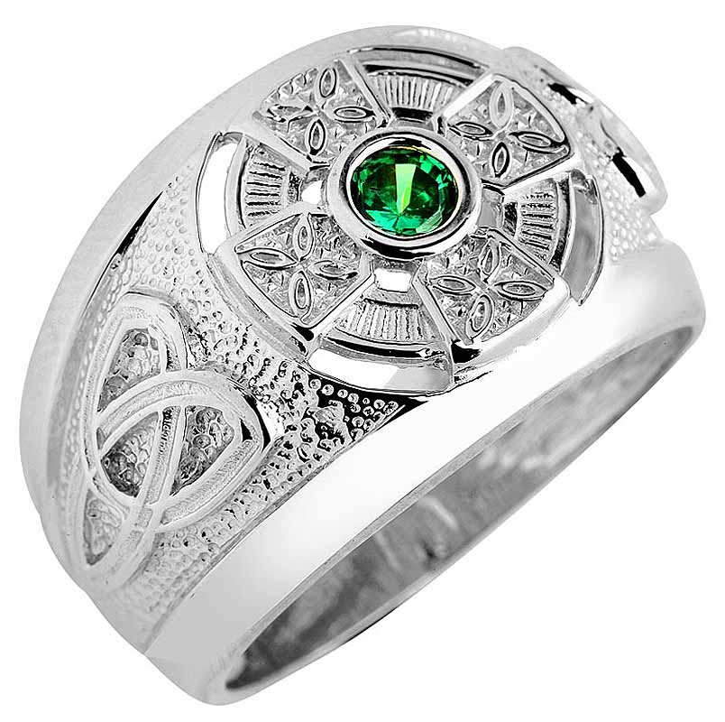 Celtic Ring Men S White Gold Celtic Ring With Emerald At