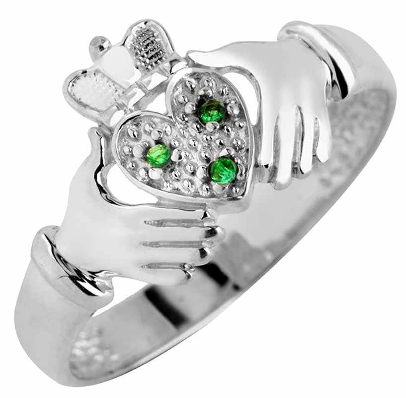 Claddagh Ring - Ladies White Gold Claddagh Ring with Emerald