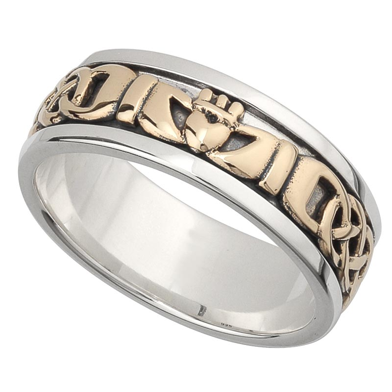Irish Wedding Band 10k Gold And Sterling Silver Mens Celtic Knot Claddagh R