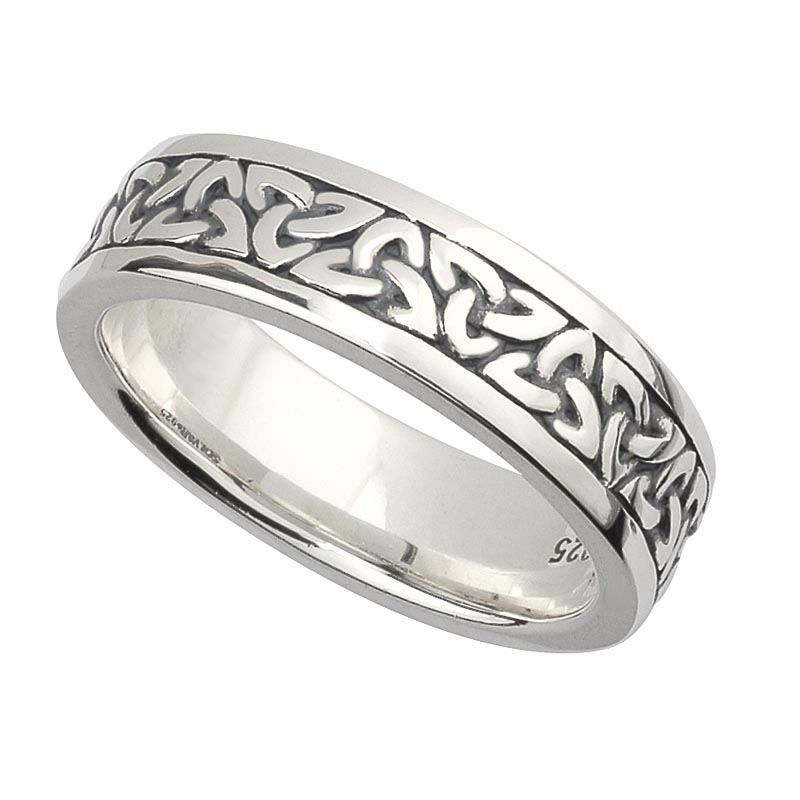 irish wedding band sterling silver ladies celtic trinity knot ring