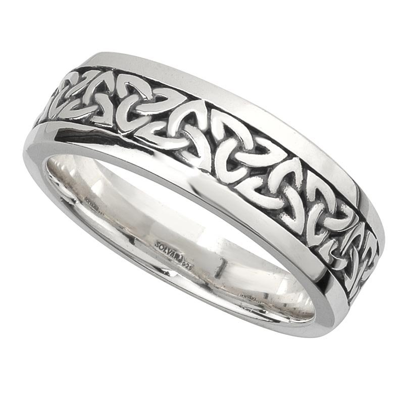 irish wedding band sterling silver mens celtic trinity knot ring at