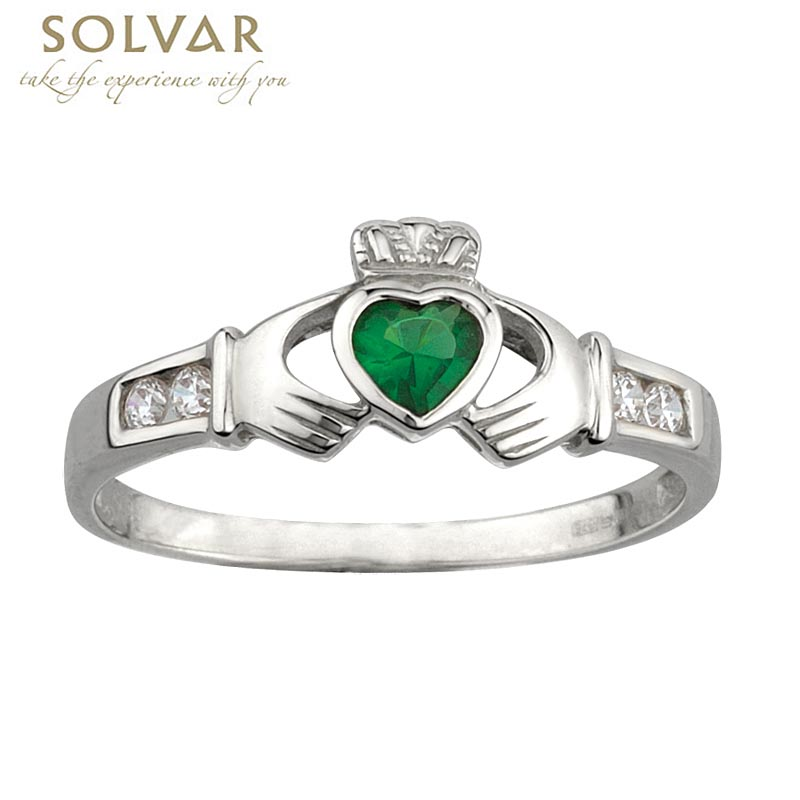 claddagh ring ladies sterling silver and emerald heart