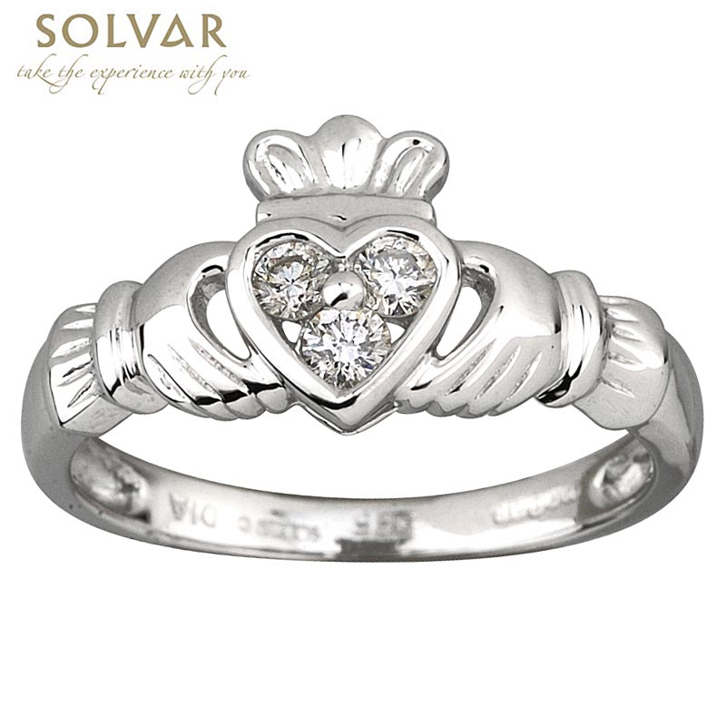 Claddagh Ring - Ladies 14k White Gold and 3 Diamond Heart Claddagh