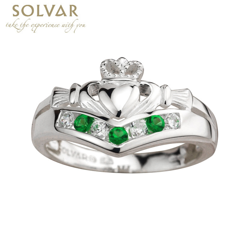 claddagh ring sterling silver with cz and emerald