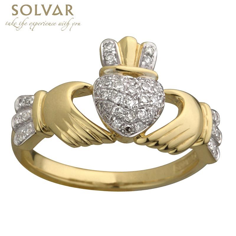 Claddagh Ring - Ladies 14k Gold Claddagh Ring with Micro Diamonds