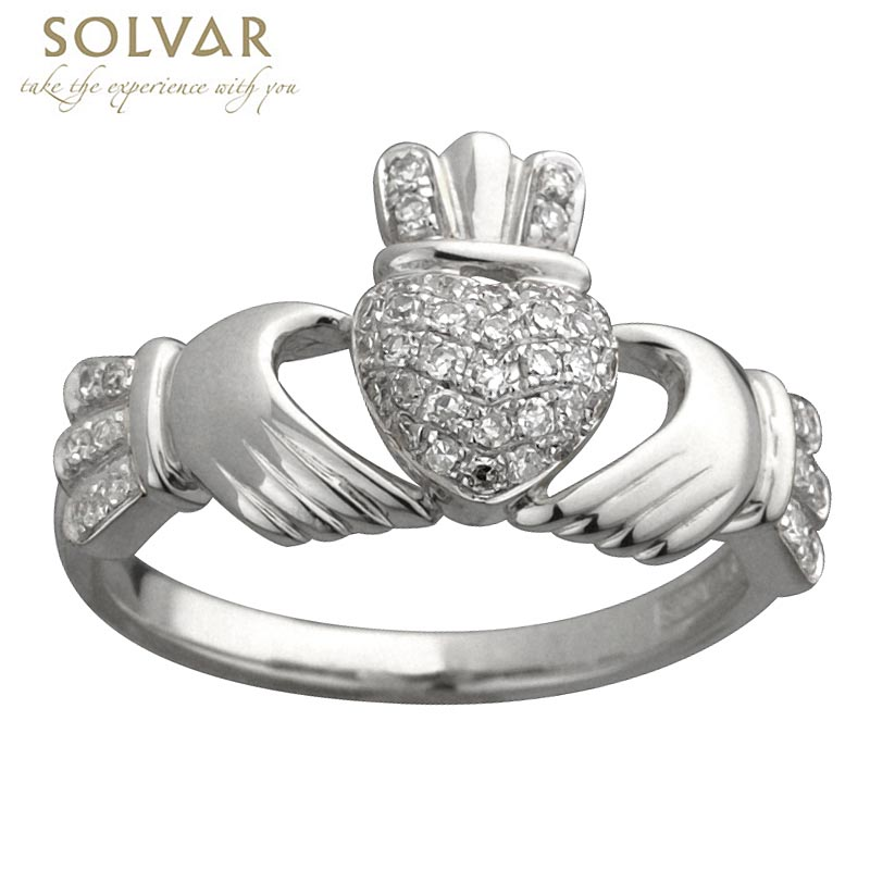 Claddagh Ring - Ladies 14k White Gold and Micro Diamonds Claddagh
