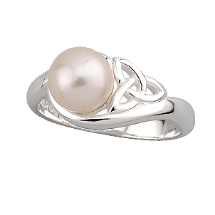 Trinity Knot Ring - Ladies Sterling Silver Trinity Knot and Pearl