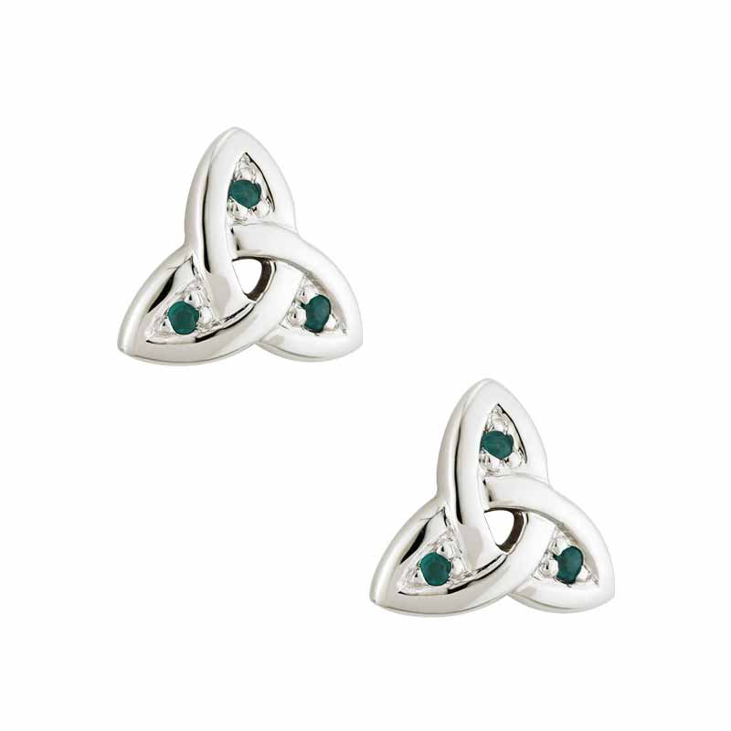 14k White Gold Trinity Knot With Emeralds Earrings At