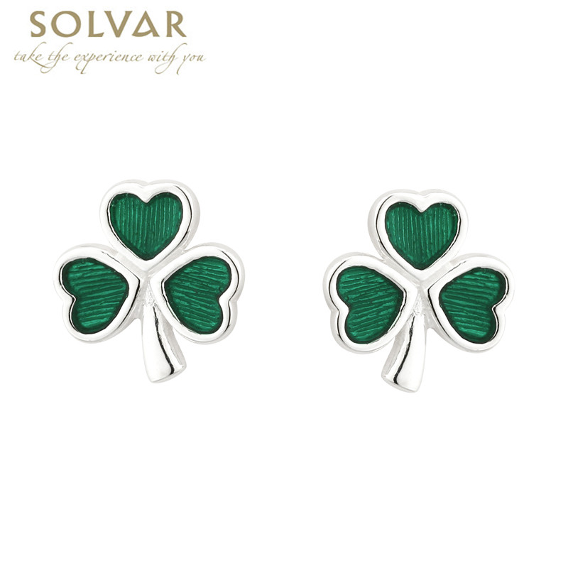 Sterling Silver and Green Enamel Shamrock Earrings