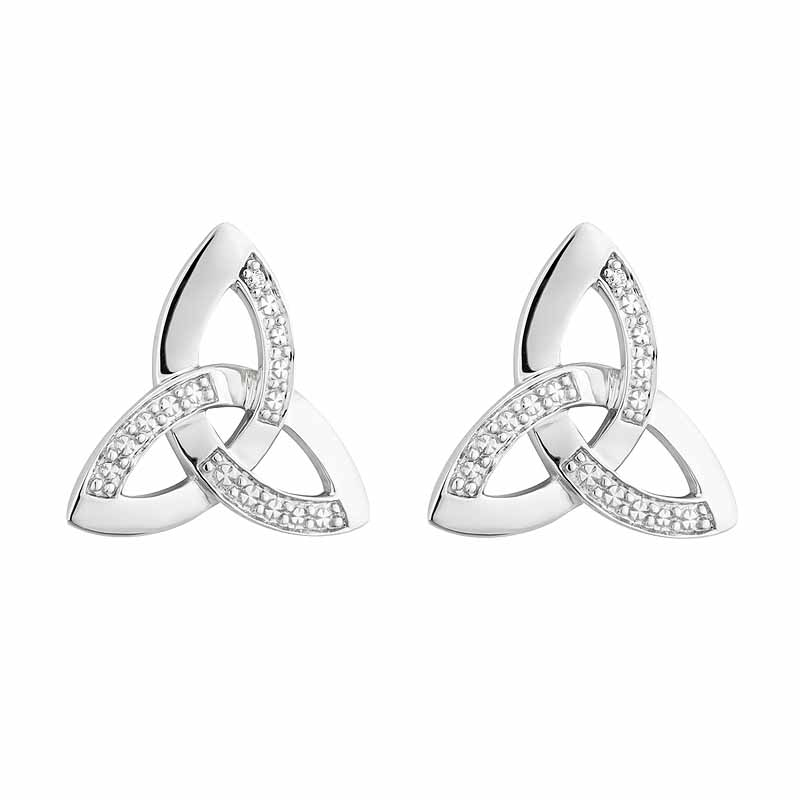Celtic Earrings 14k White Gold With Diamonds Trinity Knot Stud