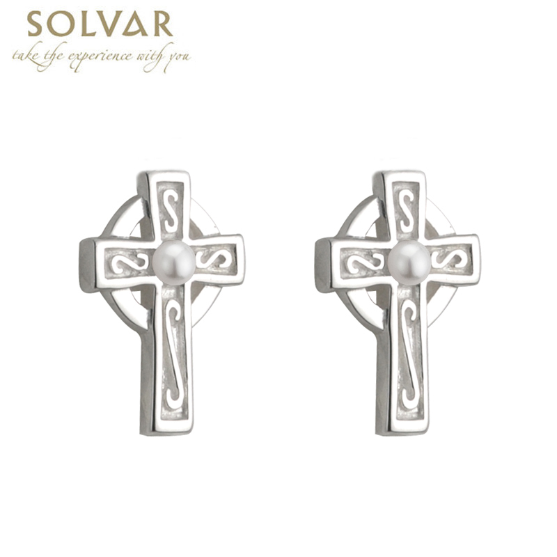 First Communion Silver Plated Celtic Cross Earrings with Pearl Center