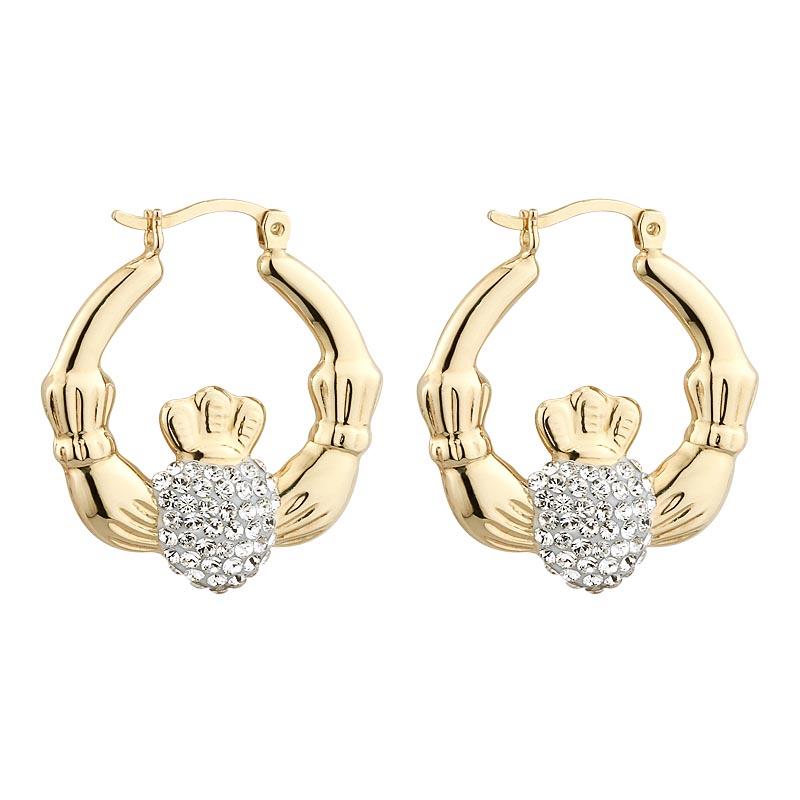 earrings gold plate creole claddagh