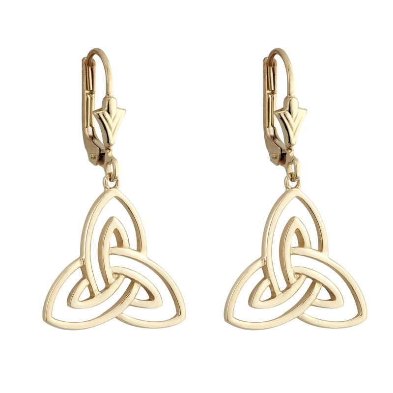 Irish Earrings 14k Yellow Gold Open Trinity Knot Celtic