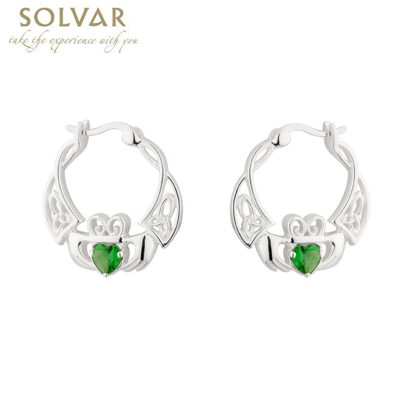 Claddagh Earrings Sterling Silver Crystal Creole