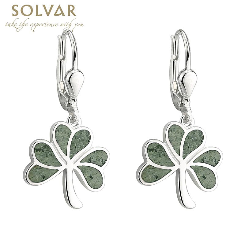 Shamrock Earrings - Sterling Silver Connemara Marble Shamrock Drop Earrings