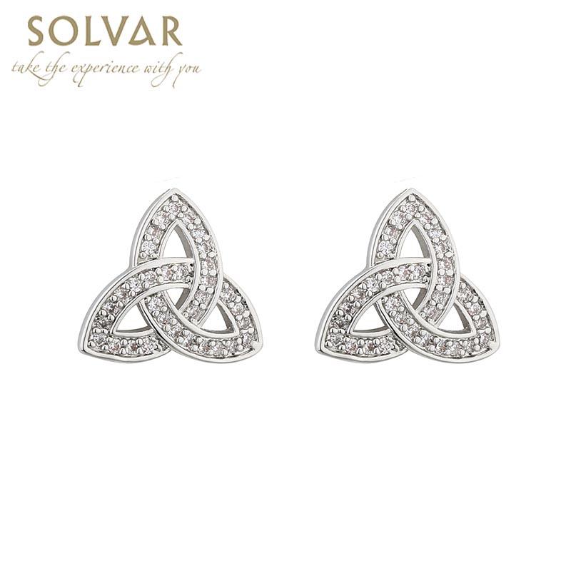 Irish Earrings Rhodium Plated Crystal Stud Trinity Knot