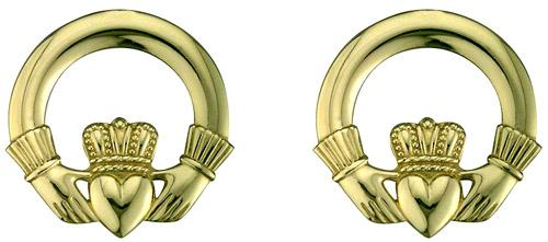 10k Yellow Gold Claddagh Earrings