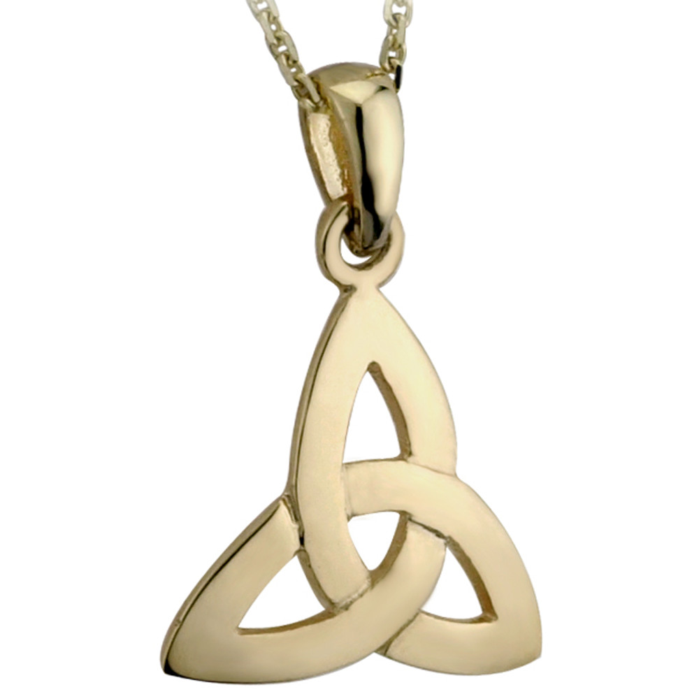 Celtic Pendant - 14k Yellow Gold Trinity Knot Pendant with Chain