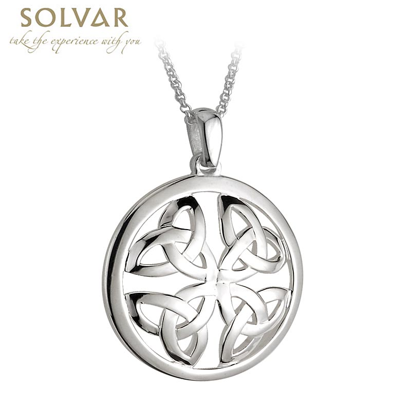 Celtic Pendant - Sterling Silver Round Trinity Knot Celtic Pendant with Chain