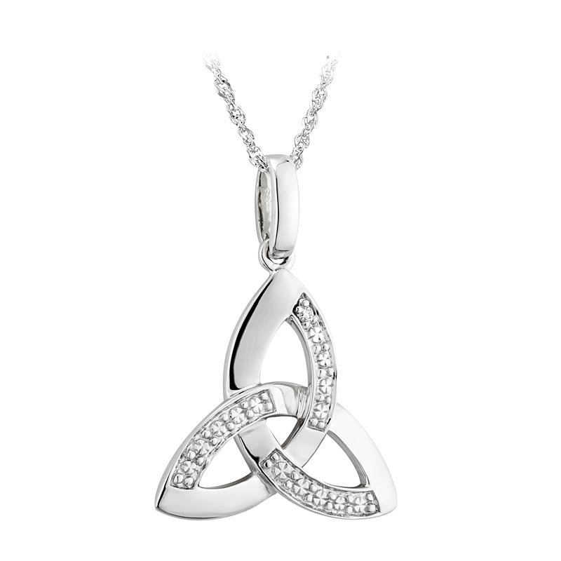 Celtic necklace 14k white gold with diamonds trinity knot pendant celtic necklace 14k white gold with diamonds trinity knot pendant aloadofball Images