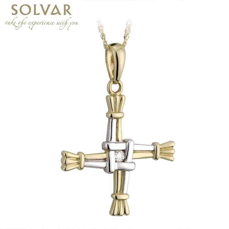 Irish Necklace - 14k Two Tone Gold and Diamond St. Bridget's Cross Pendant with Chain