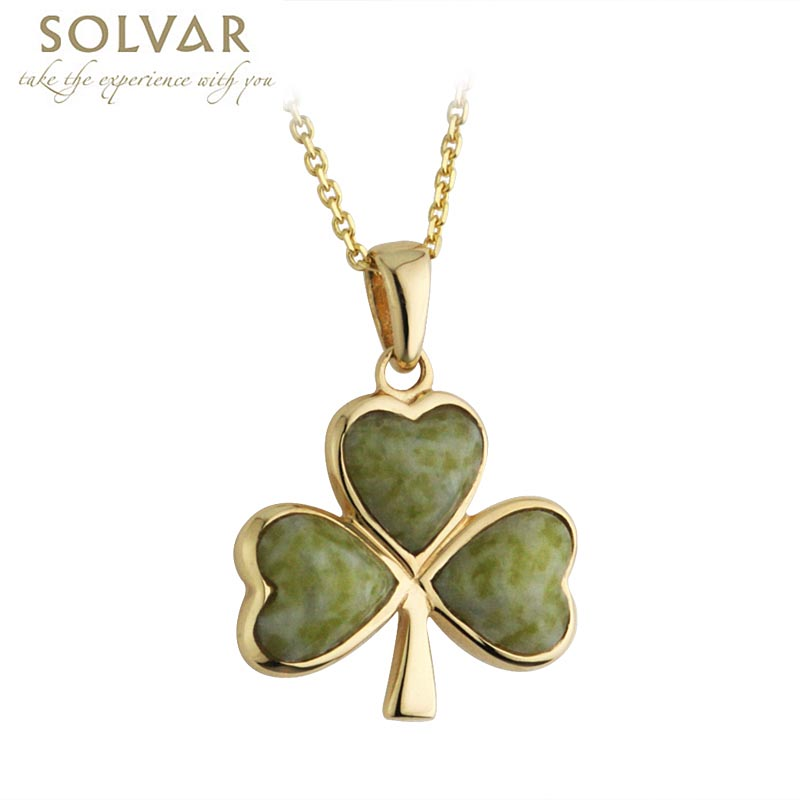 Irish necklace 14k gold and connemara marble shamrock pendant with irish necklace 14k gold and connemara marble shamrock pendant with chain aloadofball Images