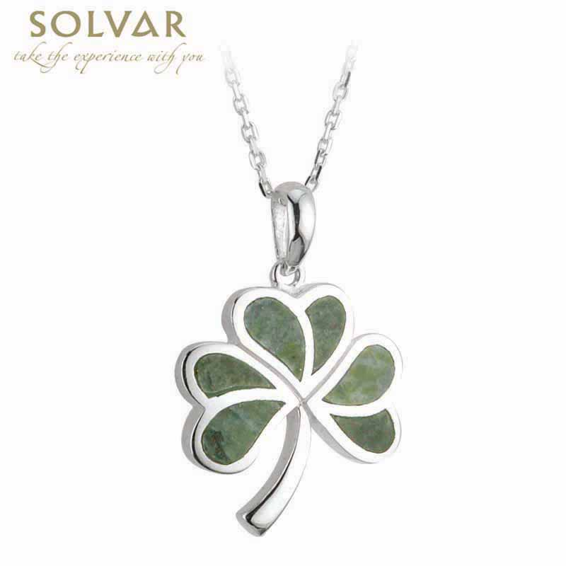 Irish Necklace Sterling Silver Shamrock Connemara Marble