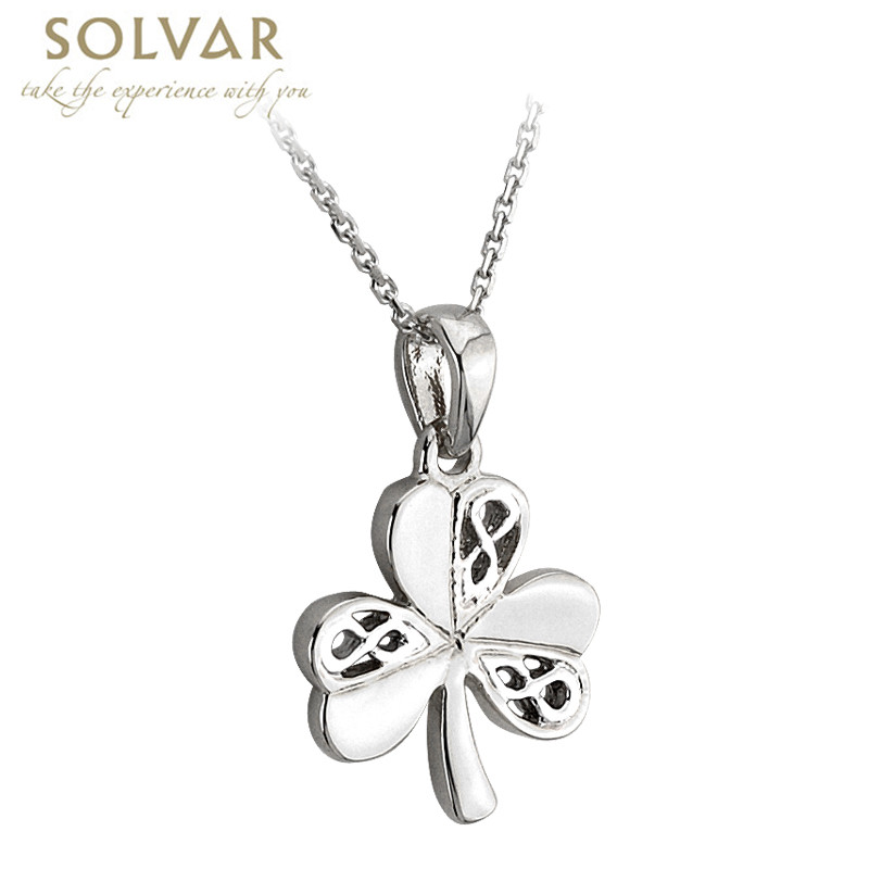 Celtic Pendant - Sterling Silver Celtic Shamrock Pendant with Chain