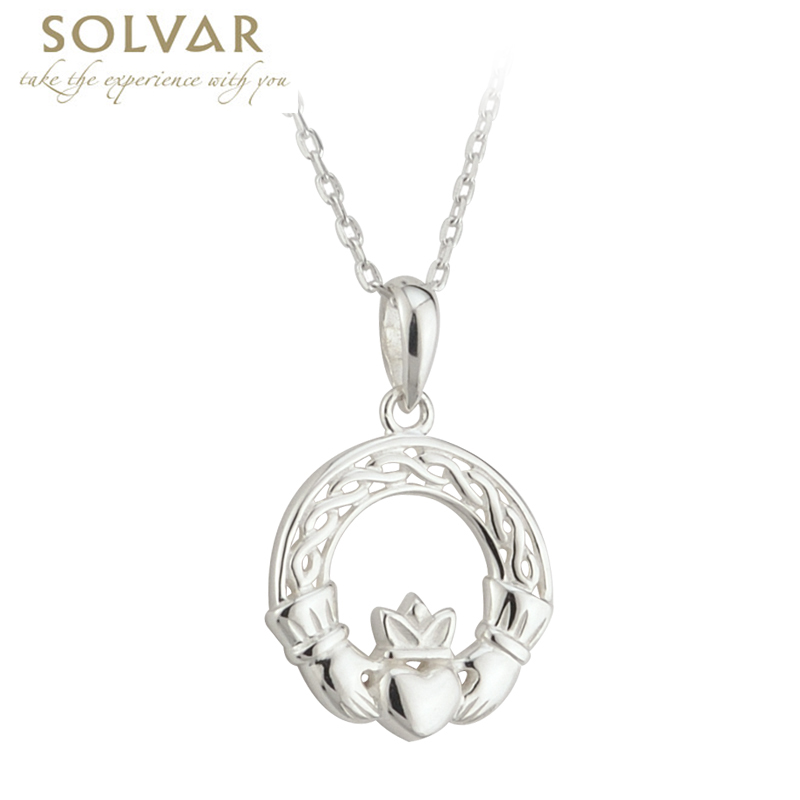 Celtic Pendant - Sterling Silver Celtic Claddagh Pendant with Chain