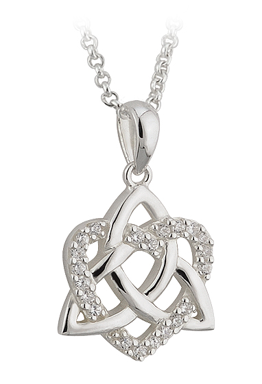 Irish Necklace - Sterling Silver CZ Love Trinity Knot Pendant with Chain