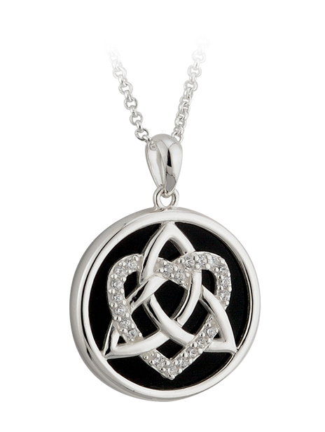 Celtic Pendant - Sterling Silver CZ Onyx Love Trinity Knot Pendant with Chain